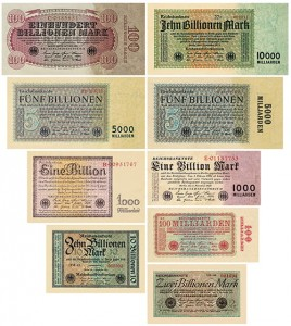 n03 - Milliarden , Billionen Mark 9 Stück Reichsbanknoten 10-11/1923 Reproduktion